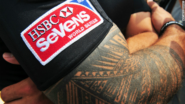 The new HSBC logo for the Hong Kong Rugby Seven tournament on the arm of New Zealand captain DJ Forbes.