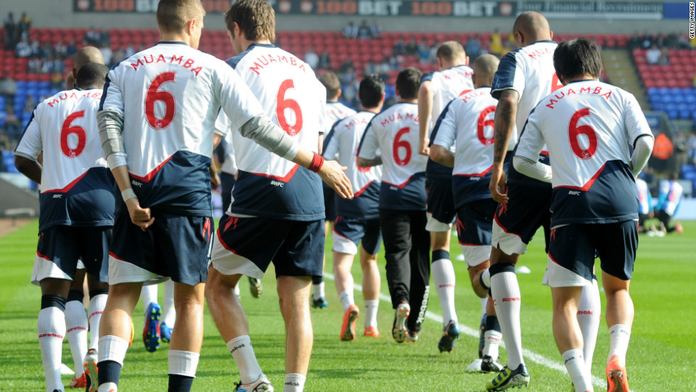 Before kick-off in Saturday''s match against Blackburn Rovers, the Bolton team wore shirts with Muamba's name and number on the back.