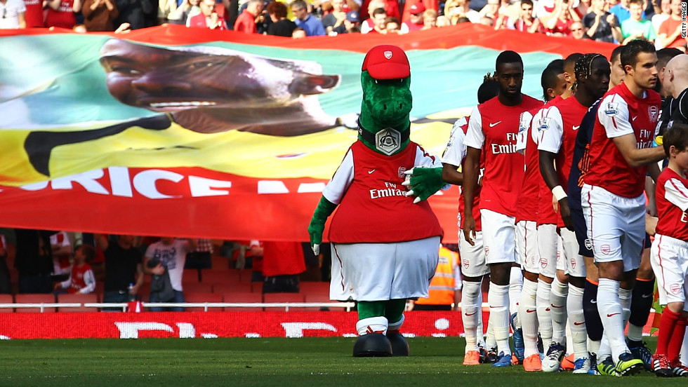 At Muamba's former club Arsenal, a banner showing an image of the midfielder was passed around before Saturday's match with Aston Villa.