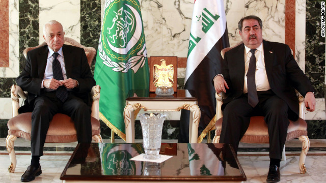Iraqi Foreign Minister Hoshyar Zebari, right, meets with Arab League Secretary General Nabil al-Araby on Sunday in Baghdad.