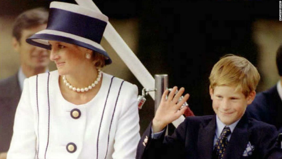 August 1995: Princess Diana and her son Harry attend an event commemorating VJ Day.