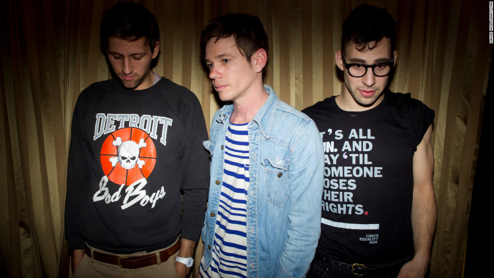 "Andrew Dost, Nate Ruess and Jack Antonoff, left to right, came together from three different bands to start FUN. The band is now touring for their second album, ""Some Nights"" released in February."