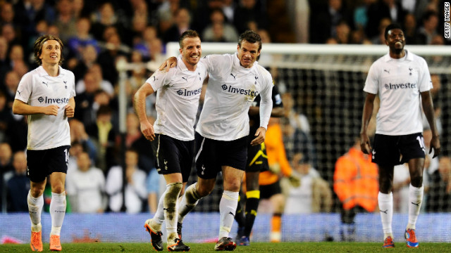 Ryan Nelsen (right) celebrates his goal as Tottenham beat Bolton 3-1 to reach the FA Cup semifinals.