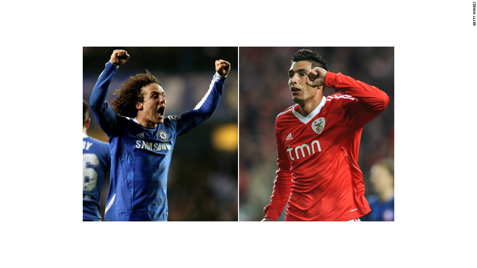 Chelsea defender David Luiz (left) will be reunited with former club Benfica when the two teams square off for their first-leg match on Tuesday. The Portuguese club's main goal threat will be Paraguay hitman Oscar Cardozo.