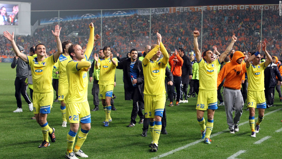APOEL are the first Cypriot team to reach the Champions League knockout stages. They continued their historic run in the round of 16, where they eliminated French side Lyon on penalties after the two-legged tie had finished level at 1-1.