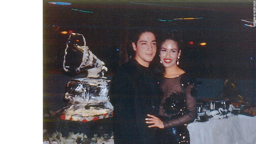 "Selena and her husband Chris at a party to celebrate the winning of the Grammy for the ""Selena Live,"" CD. Selena won the Grammy for Best Mexican-American Album in 1994 and was nominated for Best Mexican-American Performance 1995. ."