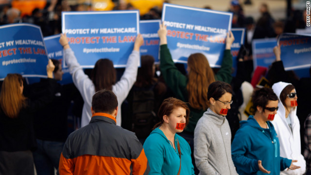 Protesters on both sides of the health care debate demonstrate outside the U.S. Supreme Court last week.