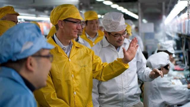 CEO Tim Cook tours a Foxconn plant in Zhengzhou, China on Wednesday, March 28. The plant employs 120,000 workers.