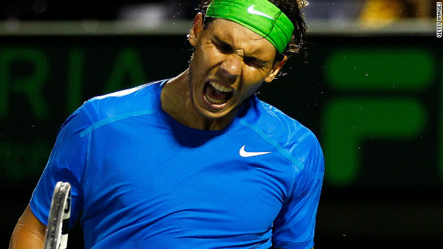 Rafael Nadal shows his delight after overcoming Jo-Wilfried Tsonga at Crandon Park in Key Biscayne.