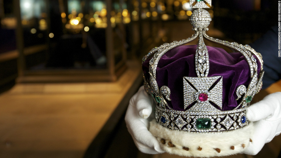 The Imperial Crown of India was made for King George V's appearance at the Delhi Durbar in 1911. It contains more than 6,000 diamonds and other precious stones, and is the only crown allowed to leave the country -- but it has only been worn once.