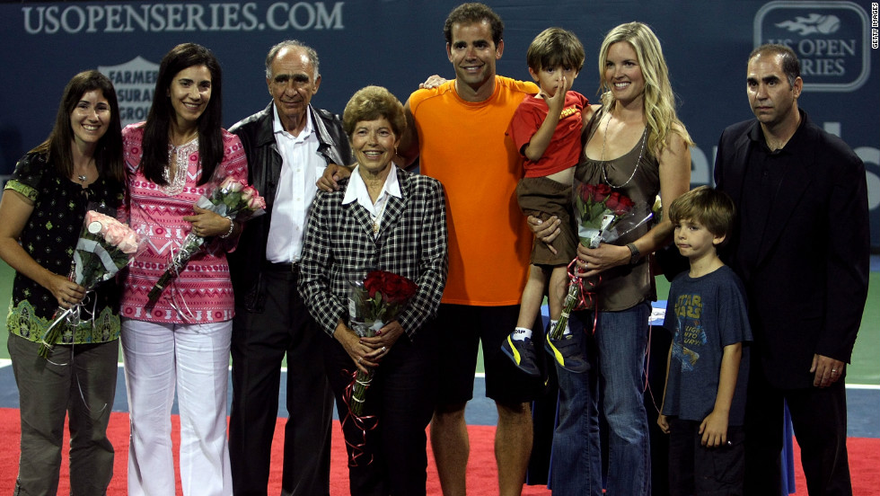 The Sampras clan: (L-R) sisters Marion and Stella, father Sammy, mother Georgia, son Ryan, wife Bridgette, son Christian and brother Gus. Pete was honored at the LA Tennis Open in 2009.