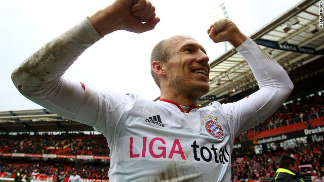 Goal scorer Arjen Robben celebrates Bayern Munich's win against Nuremberg on Saturday