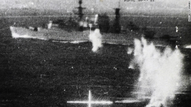 Photo taken from an Argentine Dagger while attacking UK's HMS Broadsword during the Falklands War.