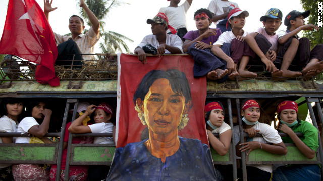 Supporters pack a truck with the hope of seeing democracy leader Aung San Suu Kyi on her visit to her constituency for the parliamentary elections April 1, 2012 in Myanmar.