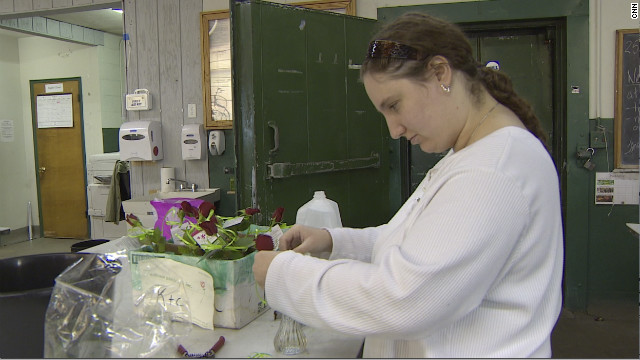 Ethel Bondi possesses a talent for making dried rose wreaths -- one of the farm's best sellers.