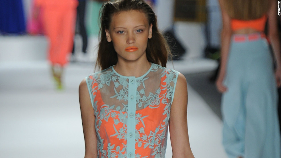 Neon tones and bright lace also made a splash in Lepore's collection.