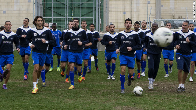 Kiryat Shmona players training at their ground in north Israel. The team clinched Israel's Premier League title on Monday.