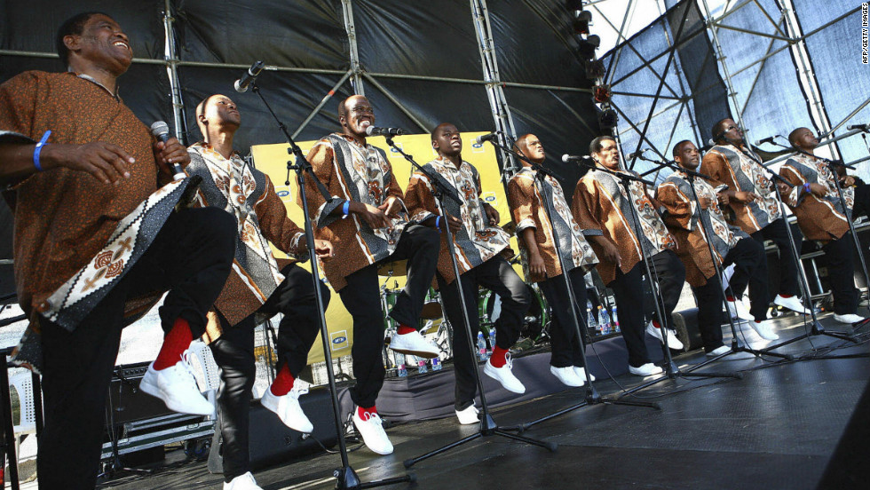 "The classically trained singer would need all the versatility he could muster during his ""Fusion Journey"" to Durban, where he teamed-up with famed South-African singers Ladysmith Black Mambazo -- pictured here during a performance in December 2008."