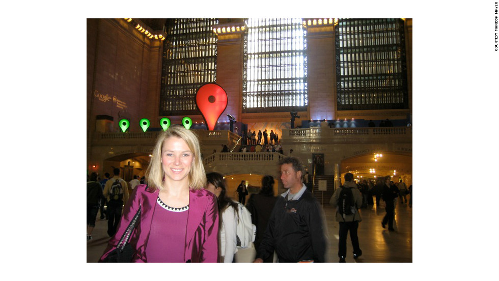Mayer at the launch of Google Maps' Transit feature at Grand Central Station in New York City in September 2008.