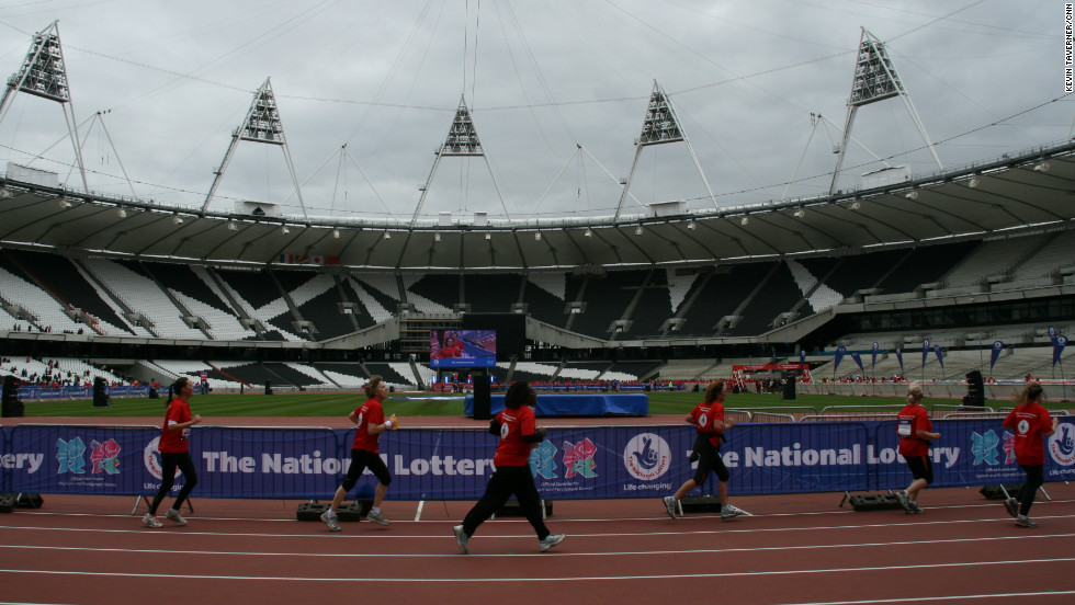 The run gave entrants a stunning preview of what it will be like inside the Olympic stadium during the July 27-August 12 sporting spectacle.