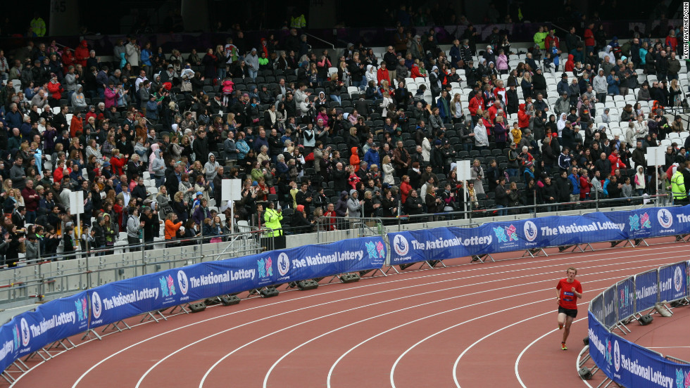 The competitors ran around an Olympic track that will be graced by champions such as Usain Bolt in August.