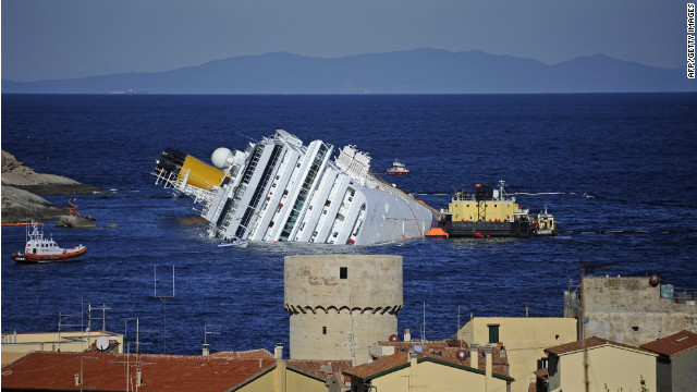 The cruise liner Costa Concordia, seen on January 25, hit rocks and sank off the coast of Italy's Giglio Island.