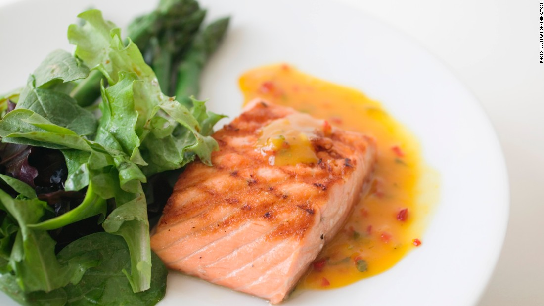 Salmon is also a good source of lean protein. With this diet, doctors suggest eating fish at least two times a week. Salmon provides a high dose of omega-3 fatty acids, which studies show significantly lower the risk of heart disease. Omega-3 fatty acids fight back by reducing inflammation and slowing the rate of plaque buildup in blood vessels.