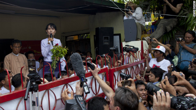 The Aung San Suu Kyi-led opposition victory in recent elections has encouraged the United States.