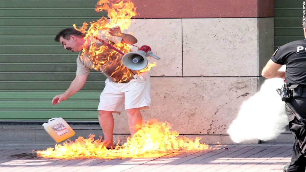 Greek man: Why I set myself on fire
