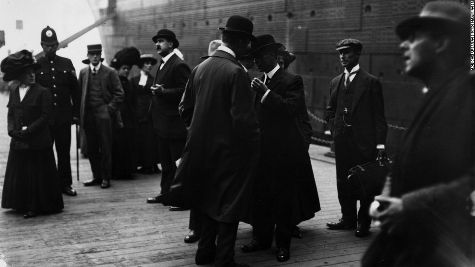 Survivors of the Titanic sinking arrive May 11, 1912, at the Liverpool docks.
