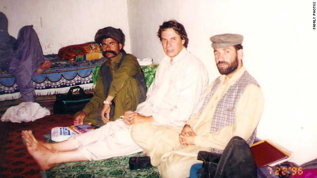 A family photo shows author Greg Mortenson in a house in the Waziristan region of Pakistan.