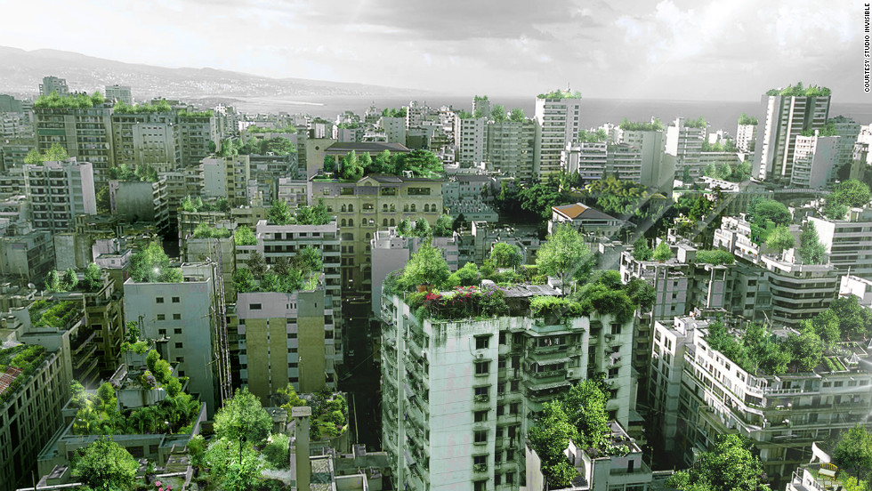 Beirut has a chronic lack of green space. In search of a solution, Lebanese architect Wassim Melki has proposed covering the city's rooftops with trees. This computer generated image shows what Beirut's skyline would look like.