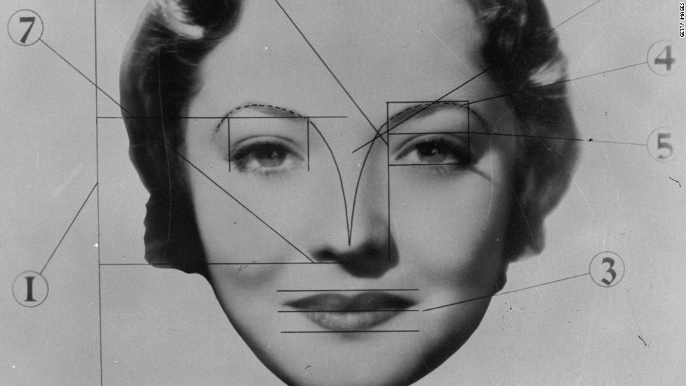 "<strong>A 20th century layout of the ideally beautiful face, 1933: </strong>""The young looking face ... that's the face with the larger eyes relative to the frame, that's the babyish look -- people like to see that,"" said Sybil Geldart, associate professor of psychology at Wilfrid Laurier University, who has conducted research on perceptions of facial beauty in infants. ""We also know that our facial attractiveness is guided by experiences and familiarity. The more we can boost exposure, the more we can find attractive. My own view is that visual exposure will allow us to change our perceptions."""