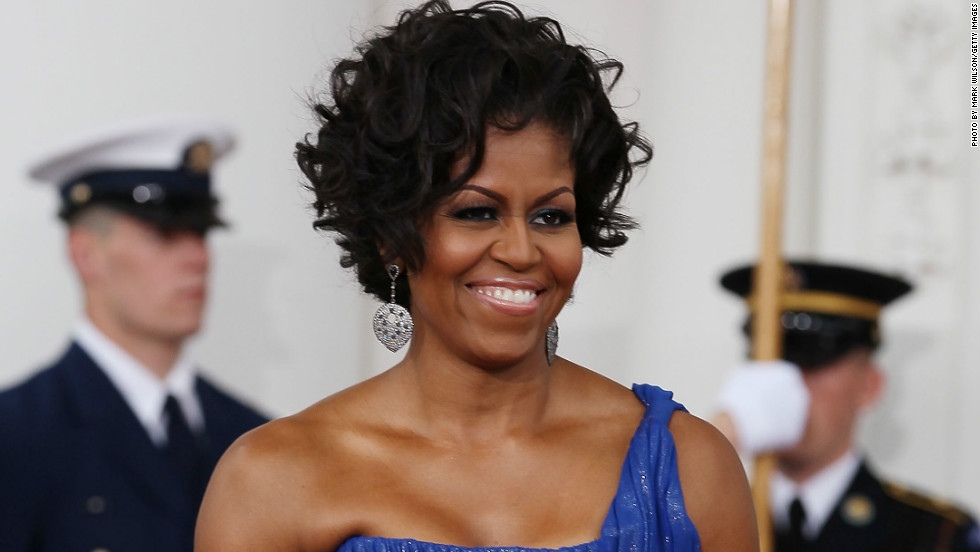 "<strong>Michelle Obama at a state dinner, 2010: </strong>""The first lady is held up as this ideal of American beauty, one who is just as thin, if not thinner, just as fit, if not more fit, just as tall and well put together than many white women,"" Linda Blum said. ""We can say that's wonderful, that's positive, but there's a bit of a contradiction and downside if now then the standards of thinness are going to become as stringent in the African-American community."""