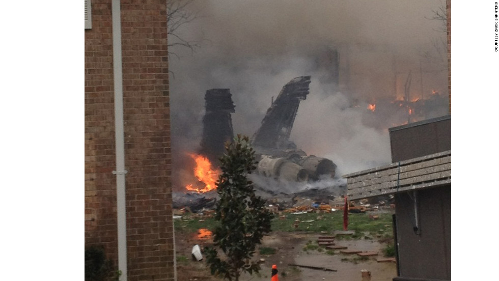 A Navy jet crashed into apartments on April 6 in Virginia Beach, Virginia, sending flames and thick black smoke into the air.