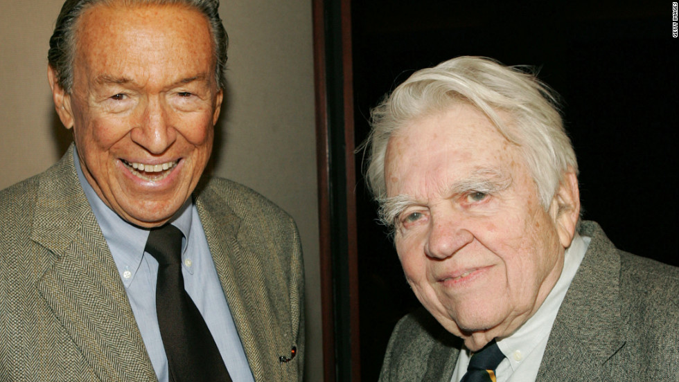 "Wallace and and fellow ""60 Minutes"" correspondent Andy Rooney attend a 2005 screening of ""Enron: The Smartest Guys in the Room"" in New York."
