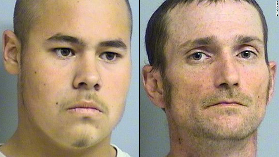 "Jake England, left, and Alvin Watts will be arraigned Wednesday, facing <a href=""http://www.cnn.com/2013/01/04/justice/oklahoma-shootings/index.html"" target=""_blank"">murder and hate crime charges</a> after a shooting in April that killed three and wounded two others in Tulsa, Oklahoma. Prosecutors are seeking the death penalty."