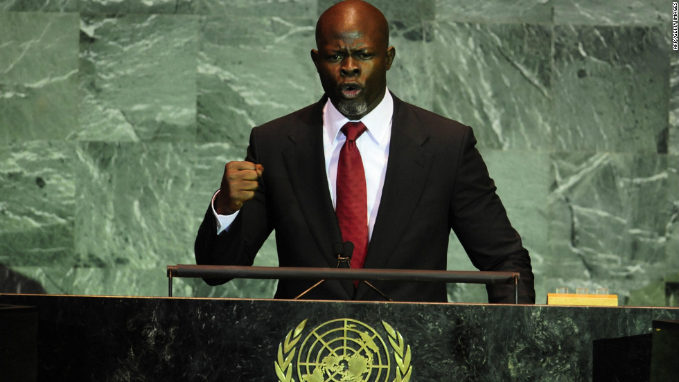 Hounsou, who is a well-known activist, addresses the United Nations' Summit on Climate Change in New York on September 22, 2009.