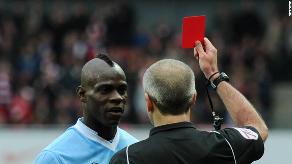 "Balotelli is red-carded after a foul on Arsenal's Barcary Sagna on Sunday. Man City lost the match 1-0, with manager Robert Mancini later saying: ""It's clear he's created big problems, but he's scored important goals."""
