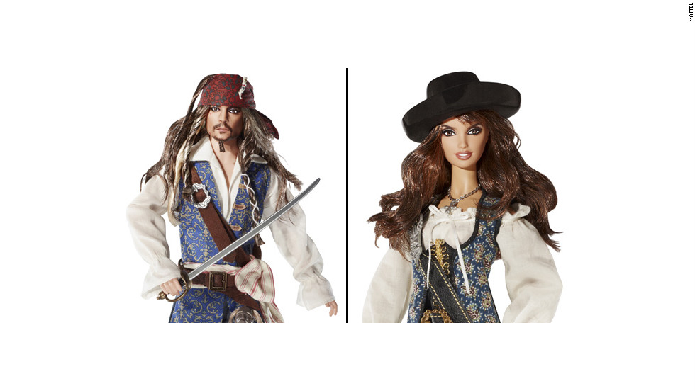 "Captain Jack Sparrow has been around since ""The Curse of the Black Pearl,"" but it wasn't until the 2011 release of ""Pirates of the Caribbean: On Stranger Tides"" that Johnny Depp's character became Barbie-fied. Fellow pirate Angelica (Penélope Cruz) also found a place at Mattel."