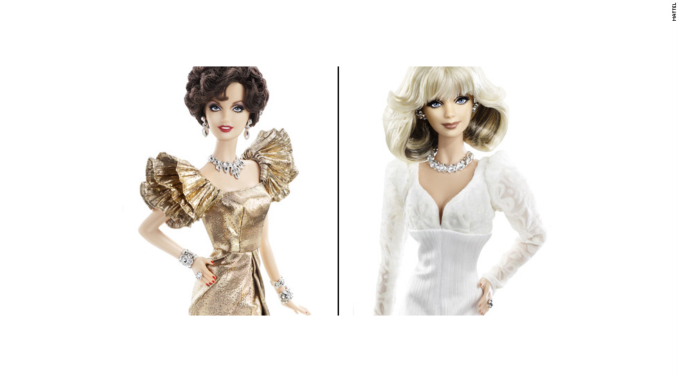"In honor of the 30th anniversary of ""Dynasty,"" Mattel released Alexis (Joan Collins) and Krystle (Linda Evans) Barbies. Drama sold separately."