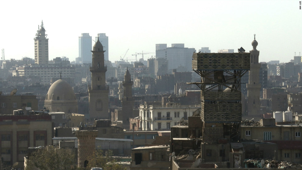 A pigeon loft (towards to right of the picture) rising several floors above most other buildings on the Cairo skyline.