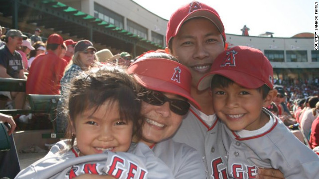 Alana, from left, Janina, Ron and Aaron Samaco pose at an Angels spring training game in 2010.