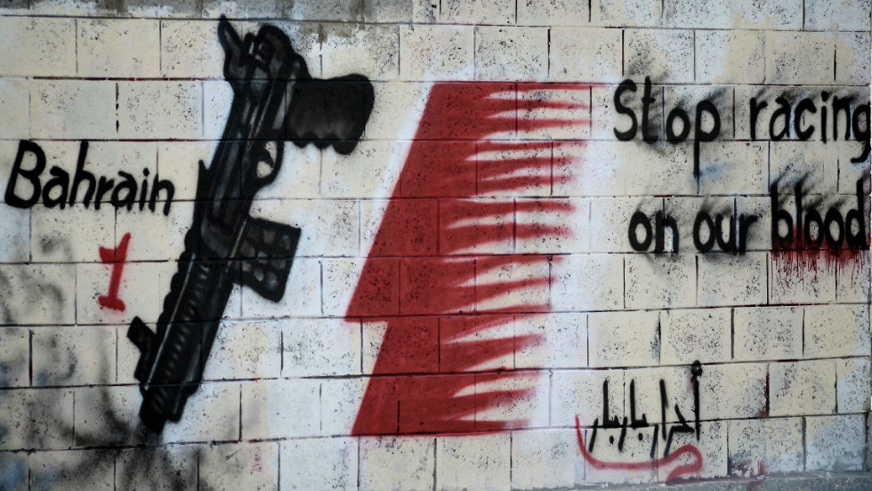 Protests against the Bahrain GP have intensified in recent weeks. This graffiti was posted on a wall in the village of Barbar, west of the capital Manama, in April.