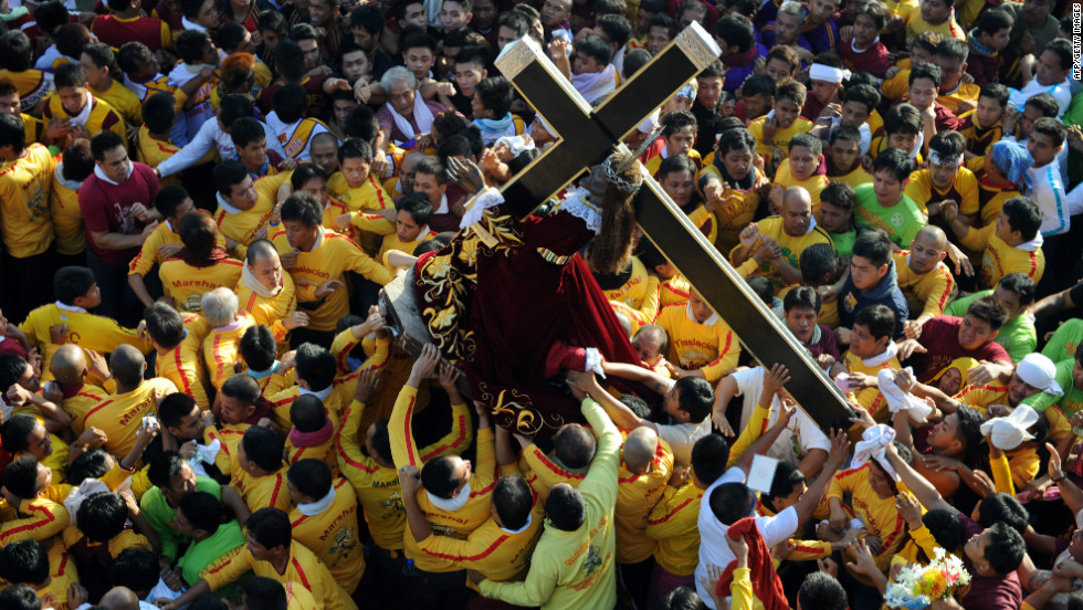 The Philippines is a predominantly Catholic country, a faith held by an estimated 83% of the population.  The pictured Black Nazarene annual procession, one of the country's most spectacular religious events, typically attracts between two to three million people to the capital, Manila.
