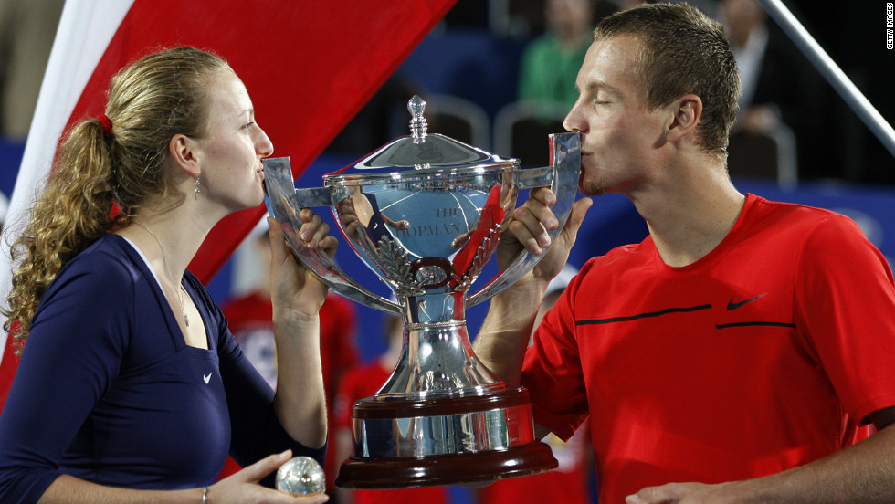 The Wimbledon champion began 2012 in fine style as she teamed up with compatriot Tomas Berdych to win the Hopman Cup teams exhibition tournament in Perth.