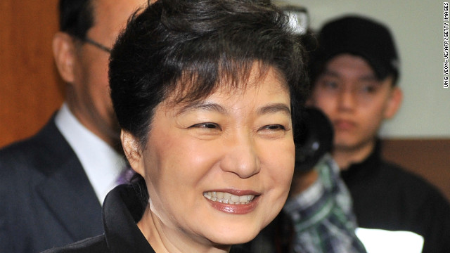 Saenuri Party leader Park Geun-hye in Seoul Thursday after her party won a majority in the National Assembly.