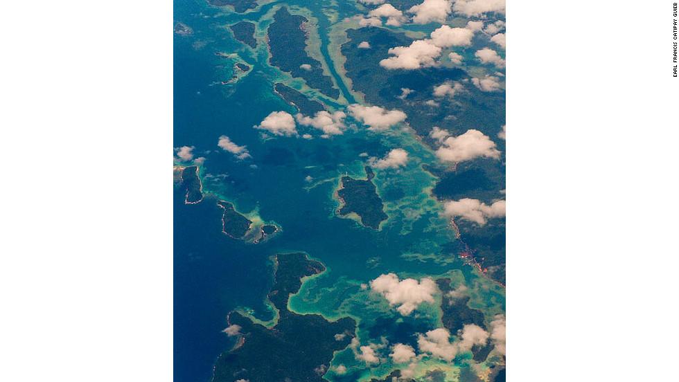 The enticing tropical waters of the Anambas Islands, Indonesia, as glimpsed from high above.