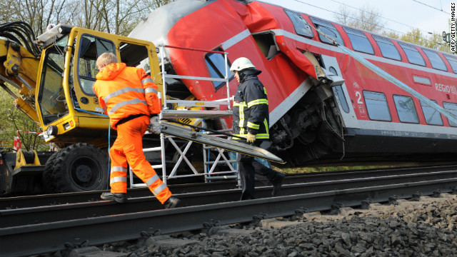 The train crash took place on the track near the city of Offenbach, close to Frankfurt, police said.