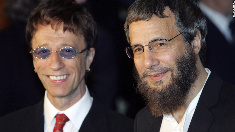 "Yusuf Islam (formerly Cat Stevens) and Robin Gibb arrive at the ""Adopt-A-Minefield"" benefit gala in support of landmine victims in 2005 in Neuss, Germany."